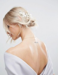 ASOS BRIDAL Mini Flower Back Hair Garland - White