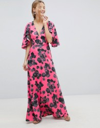 ASOS Bright Floral Maxi Dress with Ruffle Sleeves - Multi