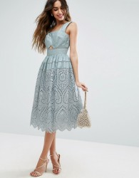 ASOS Broderie Prom Dress - Blue