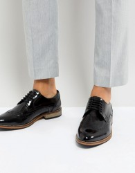 ASOS Brogue Shoes In Black Polish Leather - Black
