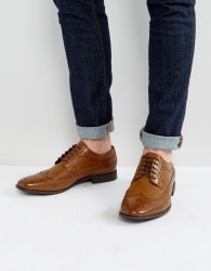 ASOS Brogue Shoes In Tan Faux Leather - Tan