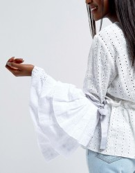 ASOS Broiderie Anglaise Oversized Layered Sleeves - White