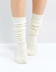 ASOS Cable Long Slouch Socks - Cream
