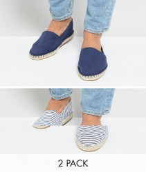ASOS Canvas Espadrilles in Navy and Blue Stripe 2 Pack SAVE - Navy