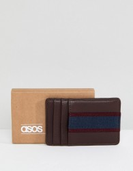 ASOS Card Holder In Burgundy & Navy - Red