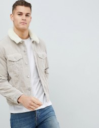 ASOS Cord Western Jacket With Borg Collar in Stone - Stone