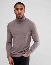 ASOS Cotton Roll Neck Jumper In Brown - Green