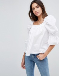 ASOS Cotton Top with Square Neck and Sleeve Drama - White