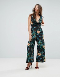ASOS Cowl Neck Jumpsuit in Print - Multi