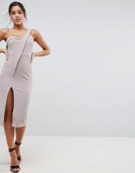 ASOS Crepe Tux One Shoulder Midi Dress - Beige