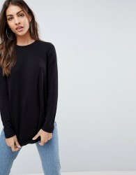 ASOS Crew Neck Long Sleeve Top With Curve Hem - Black