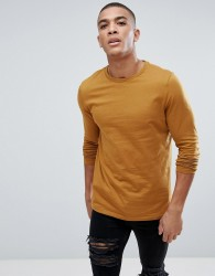 ASOS Crew Neck T-Shirt With Long Sleeves In Yellow - Tan