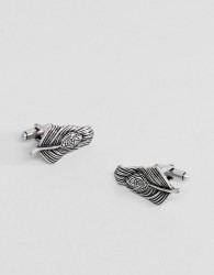 ASOS Cufflinks With Feather Design In Burnished Silver - Silver