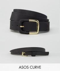 ASOS CURVE 2 Pack Skinny Waist Belt and Jeans Belt - Black