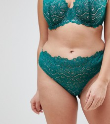 ASOS CURVE Amelia Paisley Lace Thong - Multi