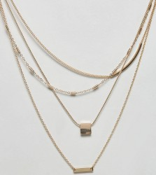 ASOS CURVE Bar and Stick Dash Chain Multirow Necklace - Gold