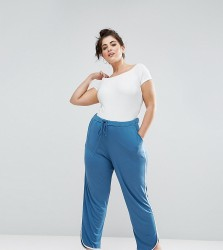 ASOS CURVE Contrast Bind Curved Hem Light Weight Joggers - Blue