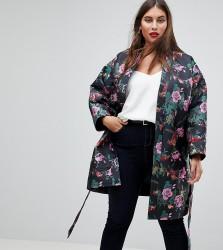 ASOS CURVE Dark Floral Jacquard Kimono Jacket - Multi
