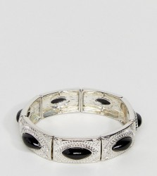 ASOS CURVE Exclusive Engraved Stone Stretch Bracelet - Silver