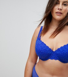 ASOS CURVE Jennifer Padded Lace Underwire Bra - Blue