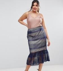 ASOS CURVE Lace Pencil Skirt with Pep Hem - Navy