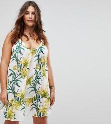 ASOS CURVE Lily Print Simple T Back Beach Dress - Multi