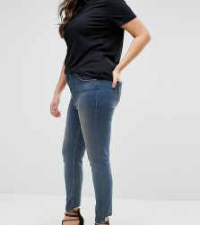 ASOS CURVE Lisbon Skinny Mid Rise Jean in Dita Tinted Mid Wash with Reverse Stepped Hem - Blue