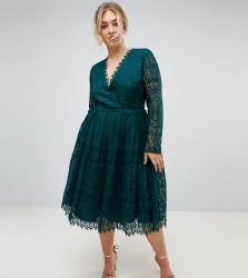 ASOS CURVE Long Sleeve Lace Midi Prom Dress - Green