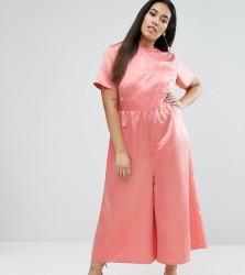 ASOS CURVE Occasion Tea Jumpsuit in Pink Satin - Pink