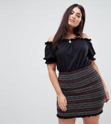 ASOS CURVE Off Shoulder Sundress with Shirred Embroidered Skirt Panel - Navy