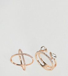ASOS CURVE Pack of 2 Fine Crystal Kiss Ring Pack - Copper
