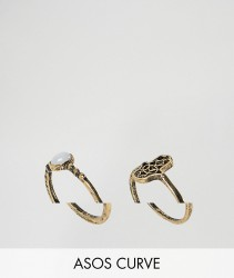ASOS CURVE Pack of 2 Hamsa Hand and Pretty Stone Rings - Gold