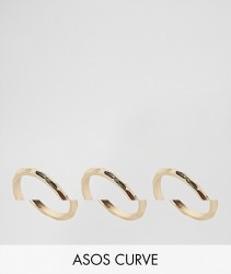 ASOS CURVE Pack of 3 Faceted Rings - Gold