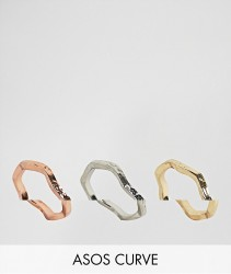 ASOS CURVE Pack of 3 Hammered Stacking Rings - Gold