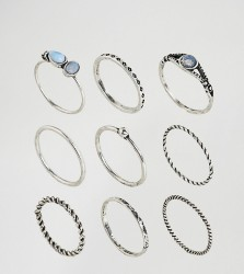 ASOS CURVE Pack of 9 Moon Stone Twist Rings - Silver