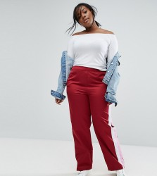 ASOS CURVE Straight Leg Track Pants with Side Stripes and Ring Pulls - Red