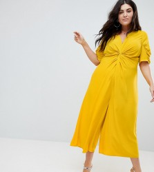 ASOS CURVE Tea Jumpsuit with Knot Front - Yellow