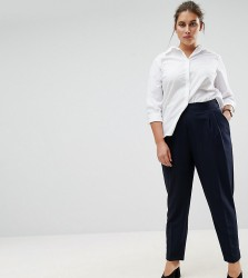 ASOS CURVE The High Waist Tapered Trouser - Navy