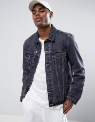 ASOS Denim Jacket in Blue Wash With Tint - Red