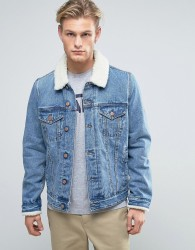 ASOS Denim Jacket with Borg Collar In Mid Wash - Blue