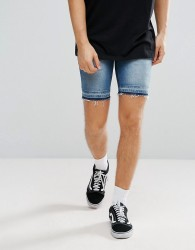 ASOS Denim Shorts In Skinny Mid Wash Blue With Cut And Sew Detail - Blue