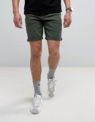 ASOS Denim Shorts In Slim Dark Green - Green