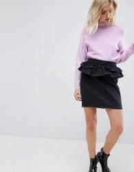 ASOS Denim Skirt in Washed Black With Peplum - Black