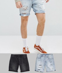 ASOS DESIGN 2 Pack Denim Shorts In Slim Washed Black & Light Wash With Heavy Rips 2 Pack SAVE - Multi