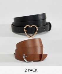ASOS DESIGN 2 pack heart and circle buckle waist and hip belts - Black