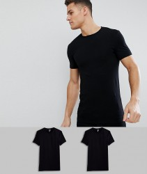 ASOS DESIGN 2 pack muscle fit t-shirt in black with crew neck SAVE - Black
