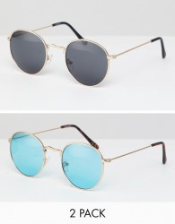 ASOS DESIGN 2 pack round sunglasses in gold with smoke & turquoise lens SAVE - Gold