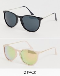 ASOS DESIGN 2 pack round sunglasses in metal arms in pink and black - Multi