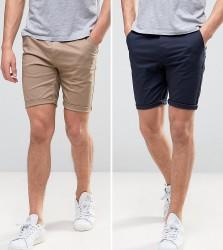 ASOS DESIGN 2 pack skinny chino shorts in navy & stone save - Multi