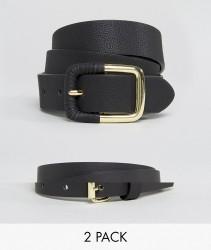 ASOS DESIGN 2 pack skinny waist belt and jeans belt - Black
